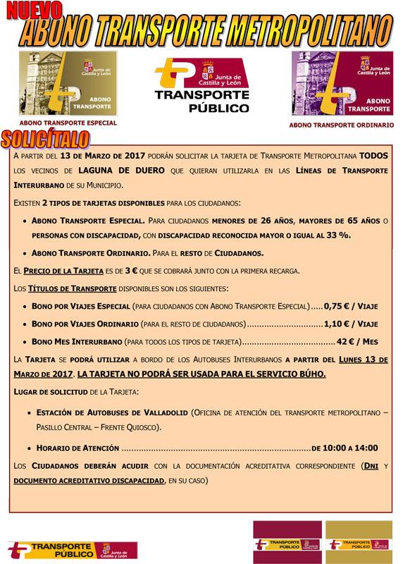 Tarjeta transporte metropolitano Laguna de Duero