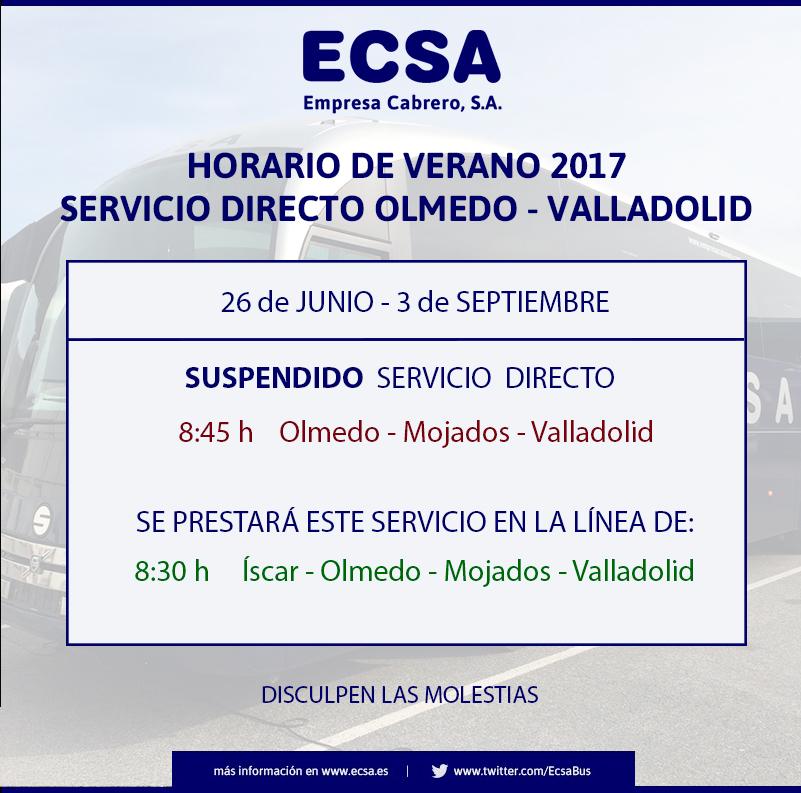 Horario Olmedo Verano 2017
