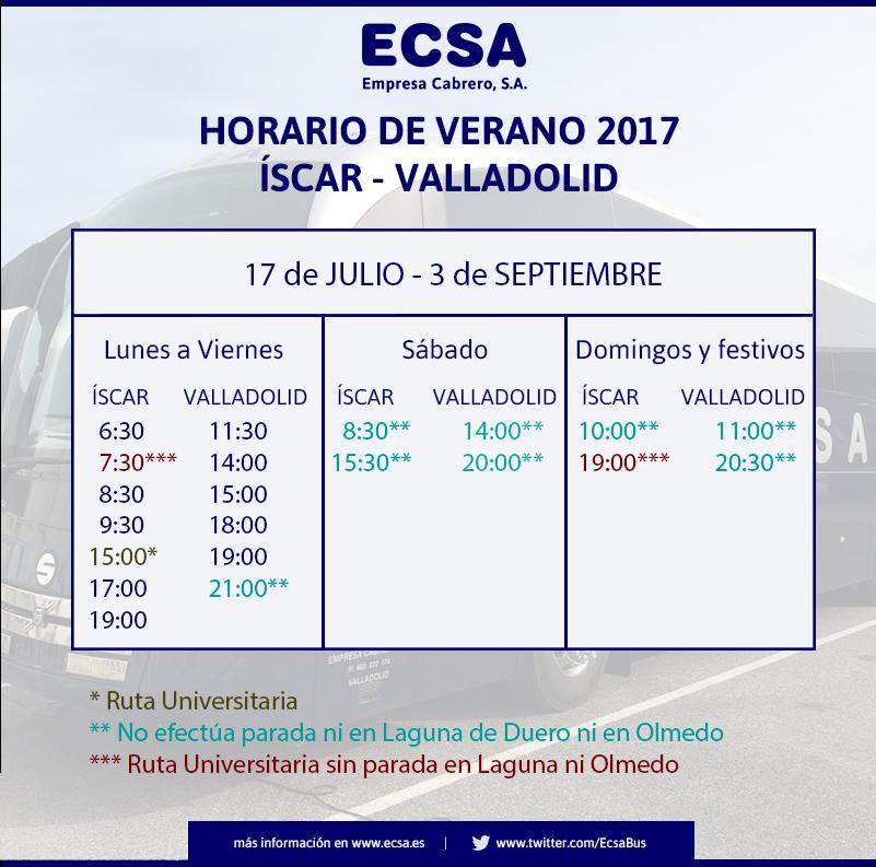 Horario Iscar Verano 2017