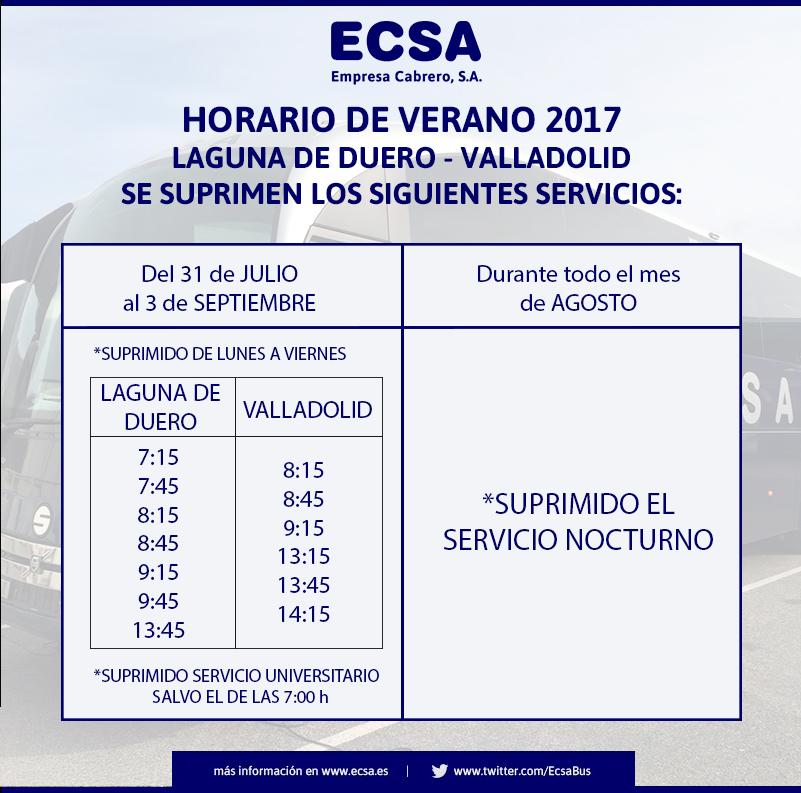 Horario Laguna de Duero Verano 2017