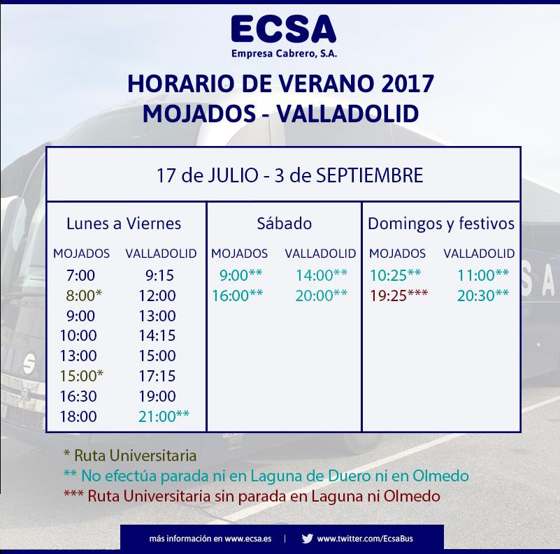 Horario Mojados Verano 2017