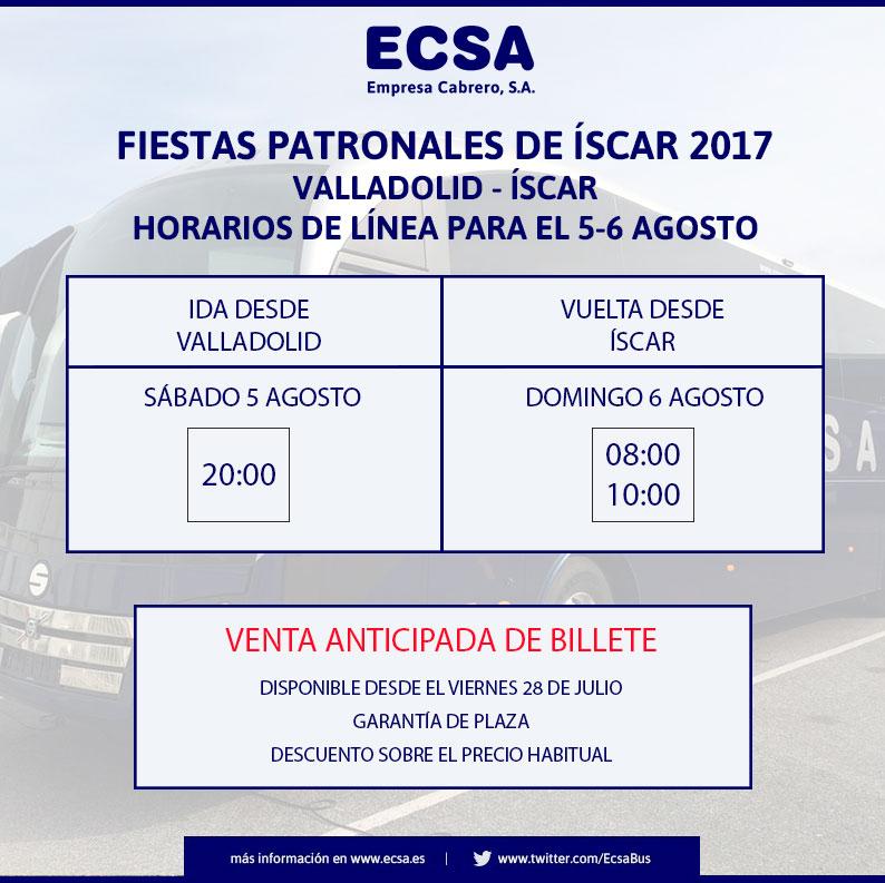 Horarios transporte fiestas iscar 2017