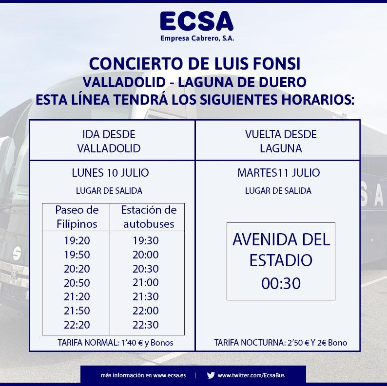 Transporte autocar Luis Fonsi Valladolid - Laguna de Duero
