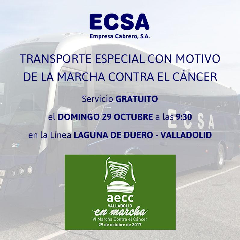 Autobus Laguna de Duero Valladolid Marcha contra el cáncer