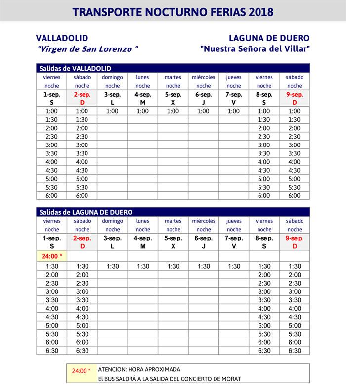 Transporte nocturno buses ferias Valladolid Laguna 2018