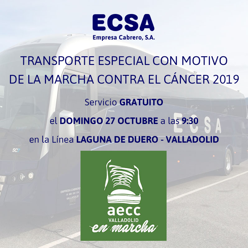 Marcha contra el cáncer 2019 Valladolid bus gratis laguna de duero